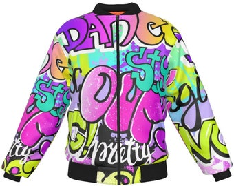 Pop Art Bomber Jacket  Men Women Custom Bomber Jackets  80s 90s Printed Bomber Jacket