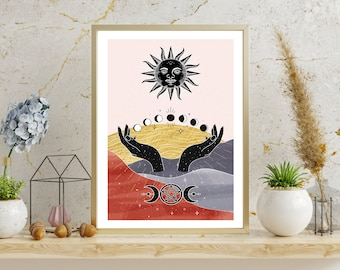 Celestial Wall Decor Goddess Poster Wall Hangings Witchcraft Sun And Moon Witchy Wall Decor Woman Power Poster Witchy Decorations