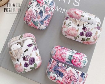Aesthetic AirPods floral print case, AirPods Floral Protection, Floral case for AirPods, Apple AirPods 1 - 2nd generation, AirPods Pro