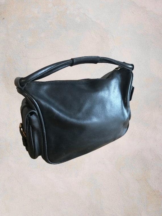 Vintage 90s Miu Miu by Prada Black Leather Circle