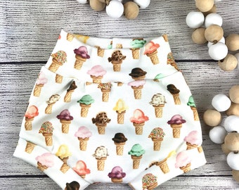 Waffle cone bummies Ice Cream Bummies bloomers shorties diaper cover sprinkle twisted turban summer bummies Ice cream bummie set