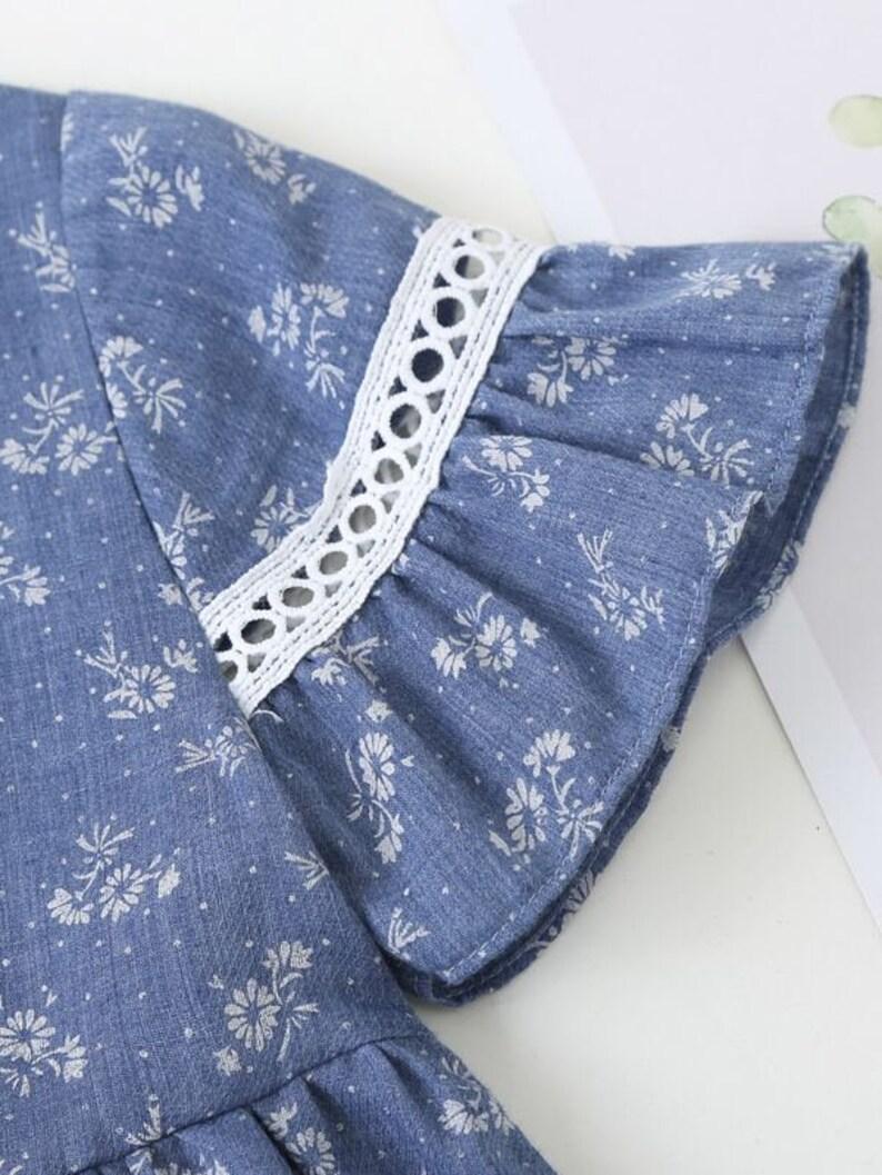 Birthday Gift For Toddler Girl Girl Blue Summer Dress Cute Toddler Girl Dress Toddler Girls Floral /& Polka Dot Dress