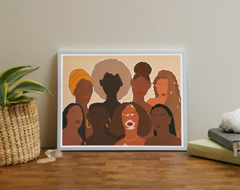 Women Empowerment Art Print l Women Supporting Women Art l Feminist Wall Decor