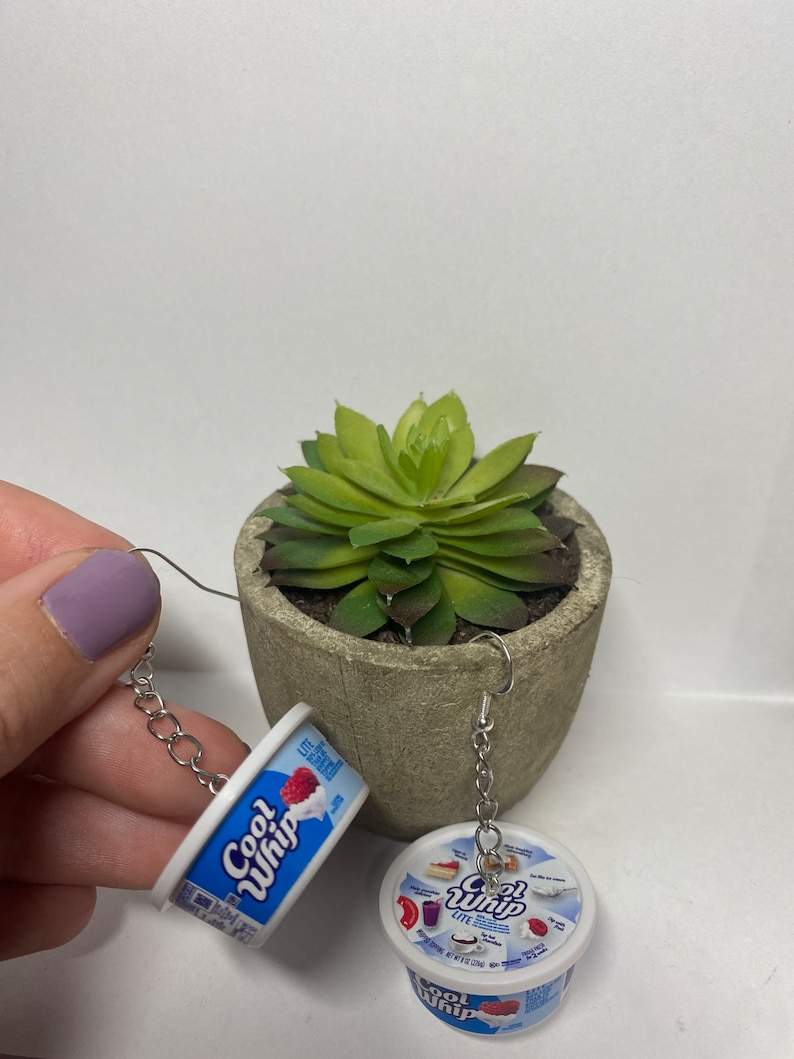 Cool whip chain earrings  mini brands  weird  funny  cute image 0