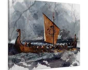 Threshing Oars on canvas - Norse Pagan Painting, Norse Pagan Wall Art,Longboat, Norse Pagan Gifts, Æsir, Thor, Viking, Longship, Heathen