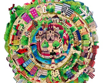 Wooden Puzzle City Whimsy Puzzle