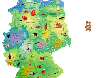 Fragmentis map of Germany, combination of puzzle and craps, wood, children from 10 years, playfulness