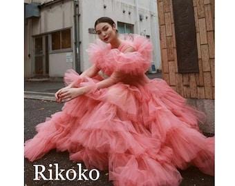 Puffy dress, petticoat dress, tulle dress, silk ball gown, long dress for photo shoot