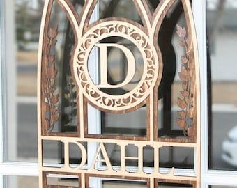 Arch Style Window Monogram Custom Home Decor free shipping wedding gift house warming gift