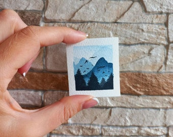 "Miniature Painting Landscape Art Tiny Watercolor Original Art Dolls-house Decor 1.7x1.5"" by NatalieARTEmbroidery"