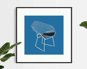 Handmade Design Chair Print - Minimalistic - Wall Art - Home Decor - Diamond Chair - Square Print