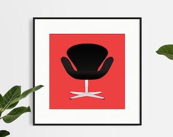 Handmade Design Chair Print - Minimalistic - Wall Art - Home Decor - Swan Chair - Flat Illustration - Chair Design - Square Print