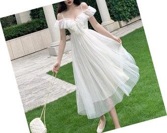 Wedding Dress Goddess dress Aesthetic Cottagecore Clothing Dress  Vintage Dress Embroidered