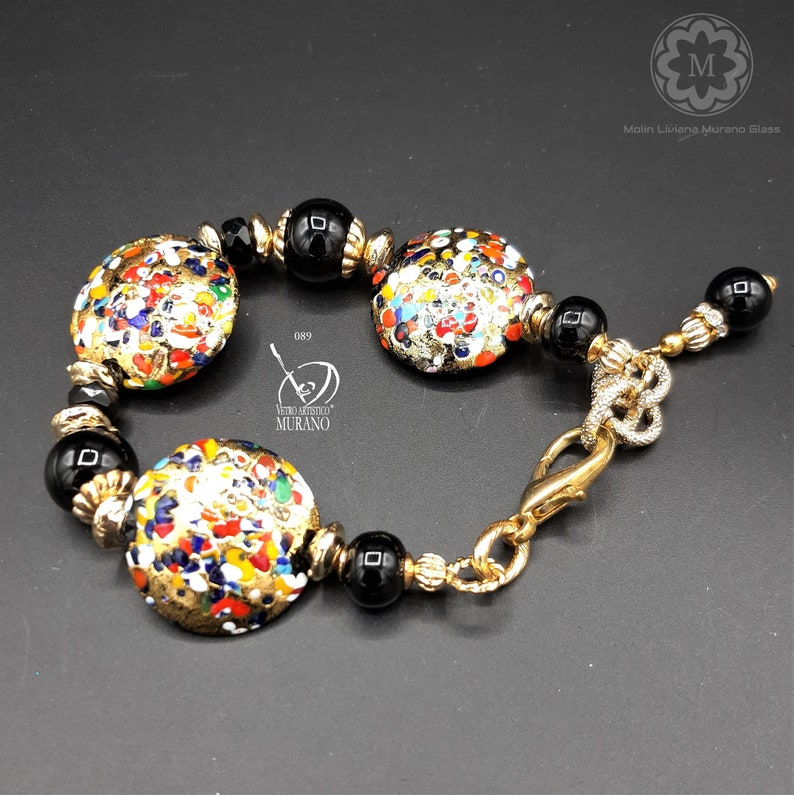 foglia oro 24 kt VETRO ARTISTICO\u00ae MURANO N perle veneziane Bracciale nero oro 89 Bracciale in Vetro di Murano arcobaleno