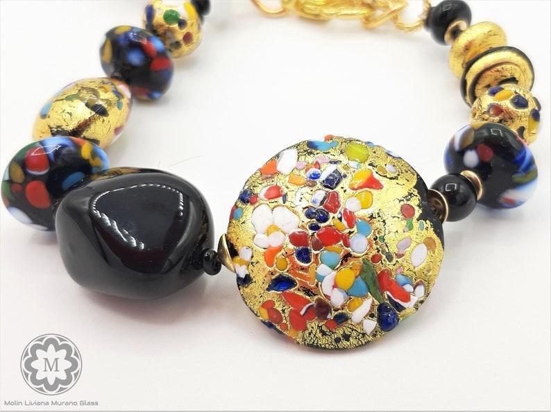 VETRO ARTISTICO\u00ae MURANO N perle veneziane Bracciale nero oro Bracciale in Vetro di Murano foglia oro 24 kt arcobaleno 89