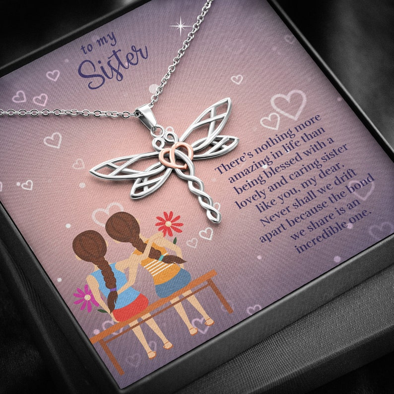 Gift For Sister Dragonfly Necklace Sister Jewelry Sister Necklace