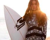s-xxl UPF Rashguard Air Waves Swimsuit black white paisley stripes arrows beach pool surf women modest feminine TOP ranked beautiful gift
