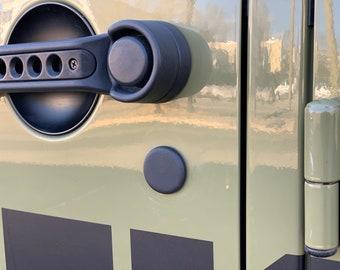 07-18 Jeep Wrangler JK JKU Door Lock Caps New Updated version no adhesive needed, The Original Santi's Caps
