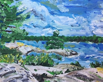 Original painting Windy day at Algonquin park
