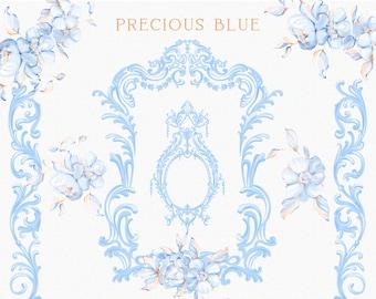 Blue Ornamental clipart, Fine art Baroque frame, Flourish border, Printable PNG, Instant download