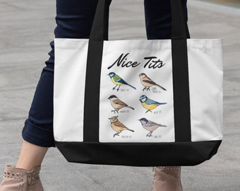Nice Tits   Fowl Language Bird   Funny Bird Lover Tote Bag   Premium Quality Cute Tote Bag   Nature Lover Gift For Mom