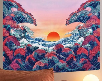 Trippy Ocean Wave Tapestry | Sunset Wall Tapestry | 3D Great Wave Wall Hanging | Tapestry Decor for Room Bedroom | Modern Art Wall Hanging