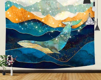 Great Japanese Sea Ocean Wave Whale Sunset Tapestry | Nature Landscape Wall Hanging Tapestry for room aesthetic | Modern Art Wall Hanging