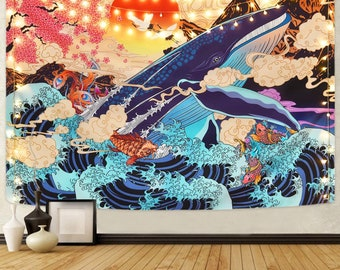 Great Japanese Sea Ocean Wave Whale Sunset Tapestry  | Wall Hanging Tapestry for room aesthetic | Modern Art Wall Hanging