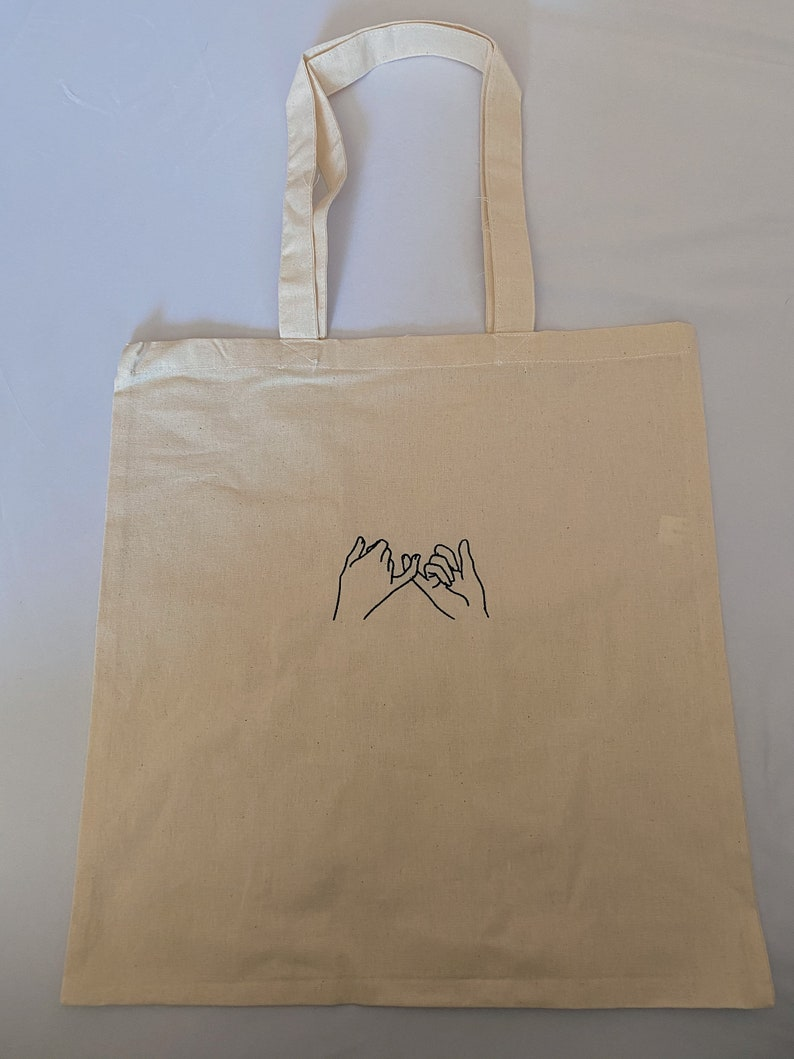 Pinky Promise Embroidered Tote Bag