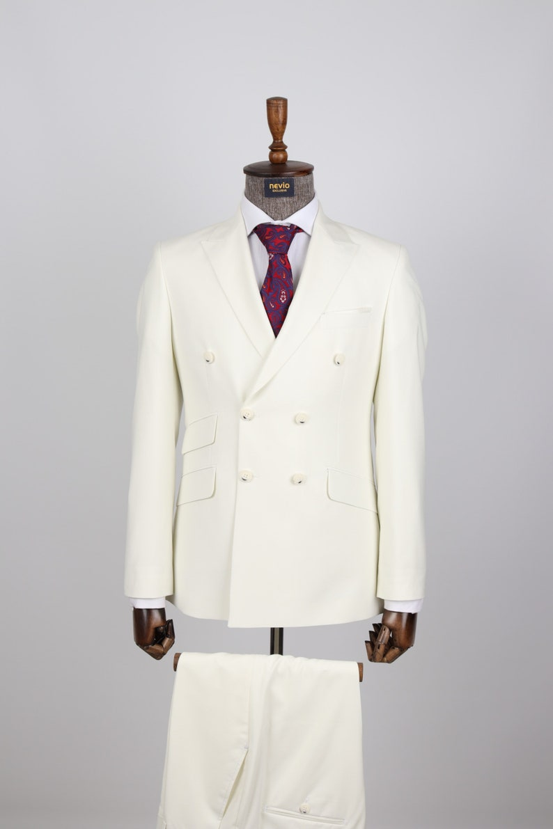 1920s Men's Evening Wear History: Tuxedos to Tailcoats Double Breasted Off White - Golden Button Men Suit $200.00 AT vintagedancer.com