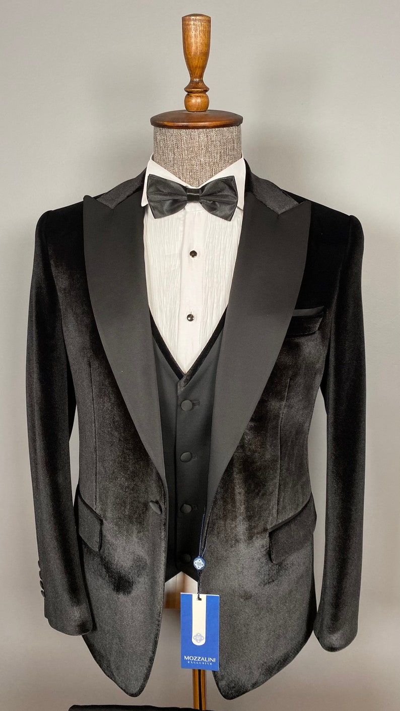 1970s Men's Suits History | Sport Coats & Tuxedos 3 Piece Peak Lapel - One Button Black Velvet Men Tuxedo - Wedding Suit $184.00 AT vintagedancer.com
