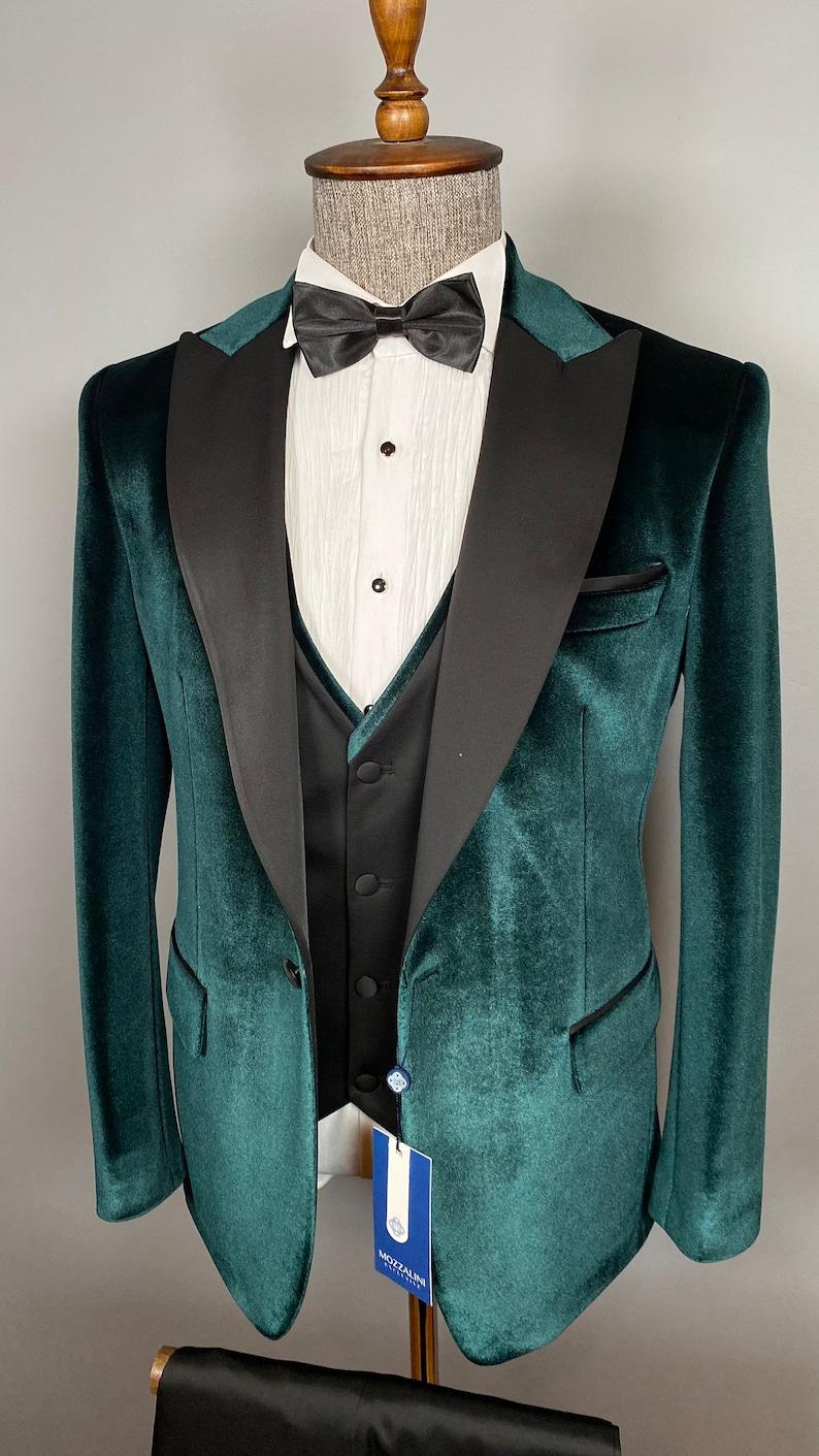 1970s Men's Suits History | Sport Coats & Tuxedos 3 Piece Peak Lapel Emerald Color Velvet Men Tuxedo - Wedding Suit Grooms Wear $200.00 AT vintagedancer.com