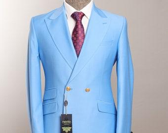 Double Breasted, Sky Blue, Golden Button  Designer Men Suit