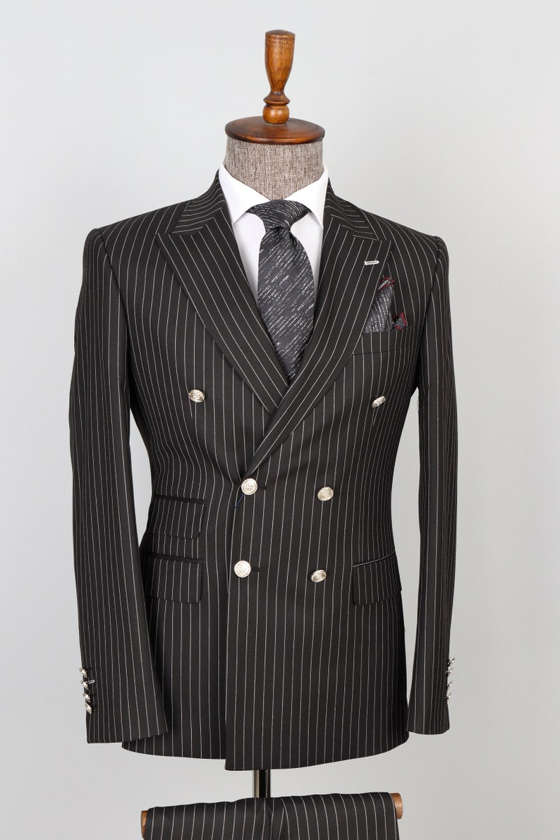 1940s Mens Suits | Gangster, Mobster, Zoot Suits Double Breasted Black White Striped Silver- Button Men Suit $200.00 AT vintagedancer.com