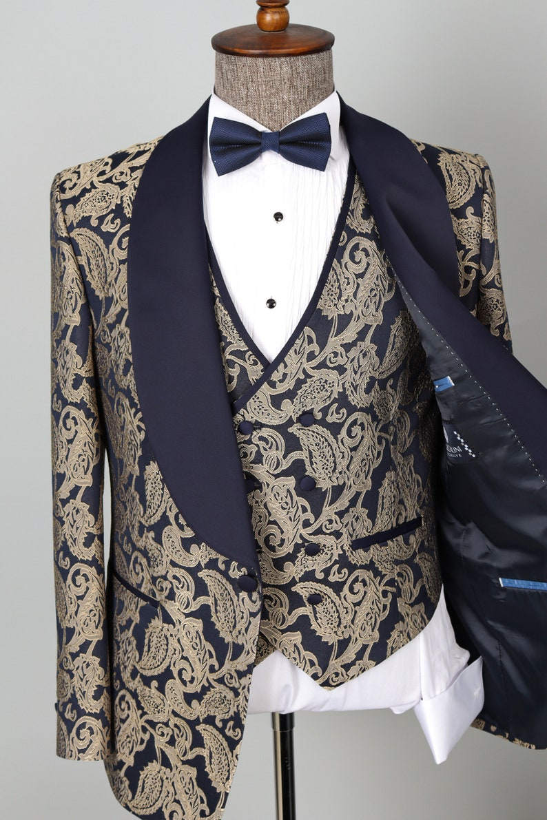 1970s Men's Suits History | Sport Coats & Tuxedos Shawl Lapel Navy Blue Golden -Floral Patterned Men Tuxedo -Groom Suit $224.00 AT vintagedancer.com