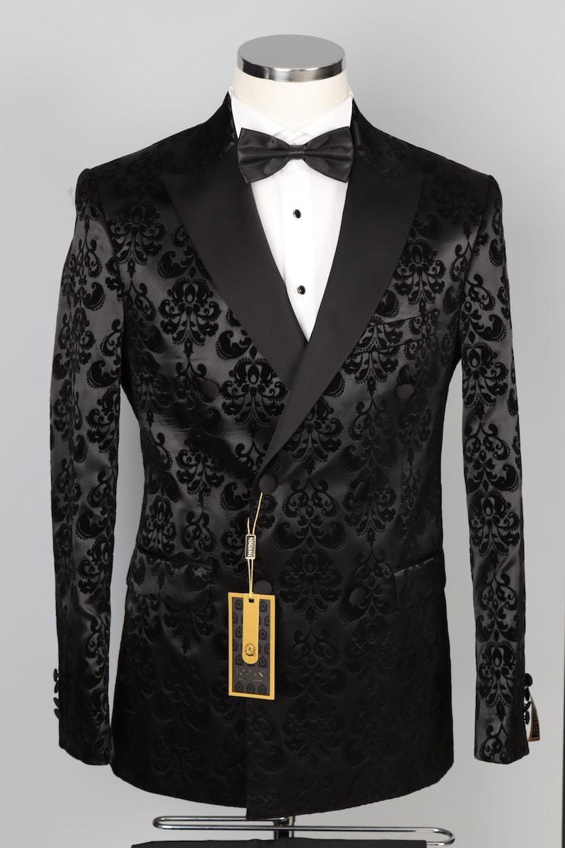 1970s Men's Suits History | Sport Coats & Tuxedos Black Floral Double Breasted Velvet Tuxedo - Wedding Suit $176.00 AT vintagedancer.com