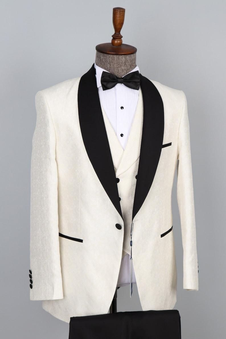 1970s Men's Suits History | Sport Coats & Tuxedos 3 Piece Off White Shawl Lapel Men Tuxedo - Wedding Suit $192.00 AT vintagedancer.com