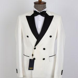1970s Men's Suits History | Sport Coats & Tuxedos Double Breasted White Men Tuxedo  Groom Wear Wedding Suit $192.00 AT vintagedancer.com