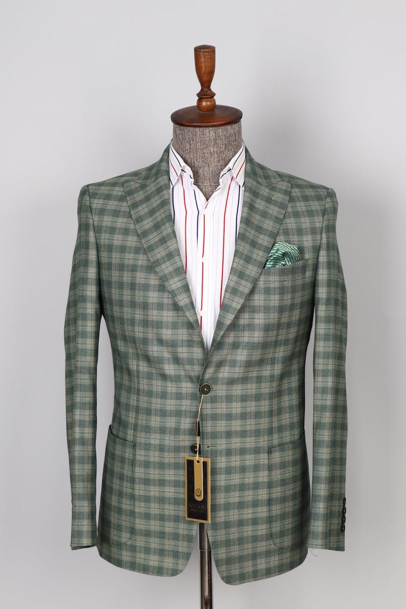 1960s Mens Suits | Mod, Skinny, Nehru     Two Button Men Jacket  Peak Lapel Patched  Pocket Checked Green Men Blazer  AT vintagedancer.com