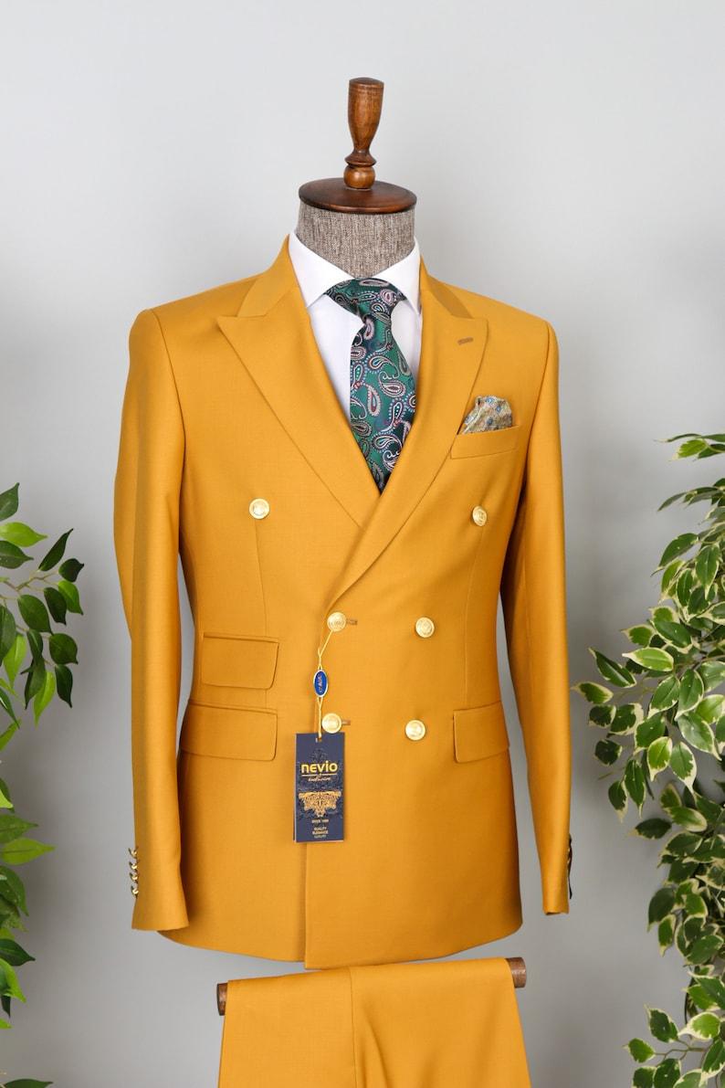 1970s Men's Suits History | Sport Coats & Tuxedos Double Breasted Mustard - Golden Button Men Designer Suit $200.00 AT vintagedancer.com