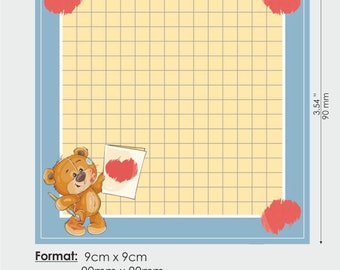 Cute Memo Pads 50 sheets Illustrated Notepad,Teddy Bear Notepad 9x9 cm Handmade Memo Stationery Notes