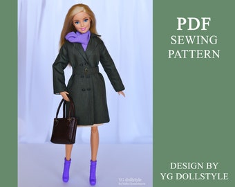 PDF Sewing pattern Dark Trench Coat For Barbie MTM