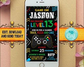 Editable Gamer Birthday invitation, Video Game Party Mobile invite