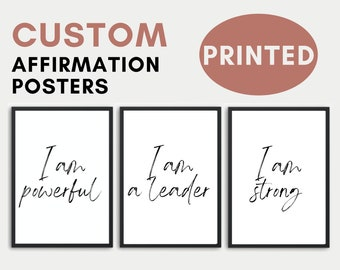 """Custom Printed """"I AM"""" AFFIRMATION Poster- Bedroom Decor, Office Decorations, College Dorm Room, House Wall Prints, Gift, Inspirational Quote"""