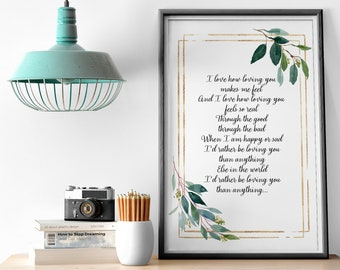 Custom Poem Print Wall Art Framed Custom Quote Frame Letter Print Frame Quote Personalized Poem Song Lyrics Print Custom Quote Print