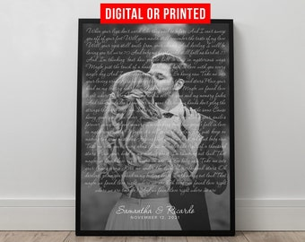 Wedding Song Lyrics with Photo Personalized First Dance Favorite Song Canvas Print 1st Anniversary Custom Sign Framed Fathers Day Gift