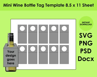 Mini Wine Tag Template 8.5x11 Sheet SVG, PNG, PSD and Docx