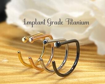 20ga Implant Grade Titanium D Shape Flat End Nose Hoop Rings, Gold, Steel, Rose Gold, Black, 8mm, 10mm
