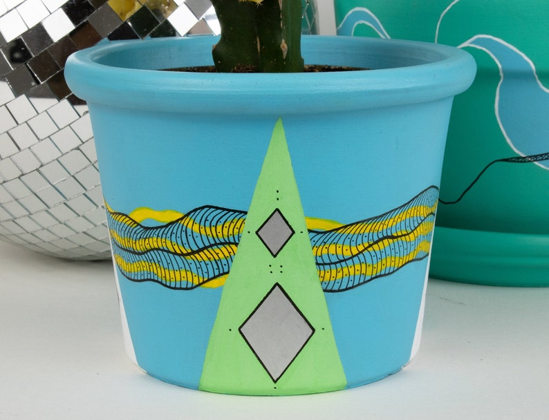 Hand Painted Baby Blue with Yellow Black Line Accent 5.75 Plant Pot \\\\ Abstract Terracotta Planter with Geometric /& Colorful Shapes