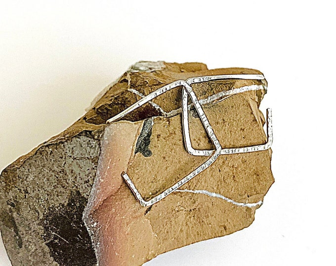 Open Square Hoops, Hammered Silver Geometric Studs, Minimalist Earrings, Hoop Earrings With Charm